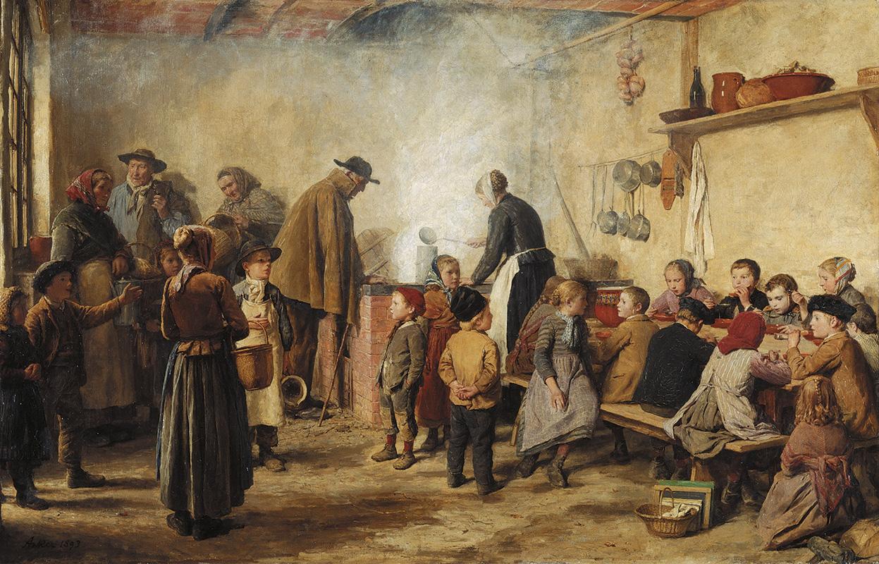 AuBergewohnlich Gemälde Von Albert Anker Aus Dem Jahr 1893, Das Die Verteilung Von Suppe An  Arme